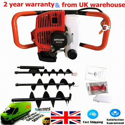 52cc 2.3HP Petrol Earth Auger Digger Post Hole Borer Ground Drill+3 Drill Bits!!
