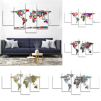 World Map Flag Modern Canvas Print Painting Framed Home Decor Wall Art Poster 5P