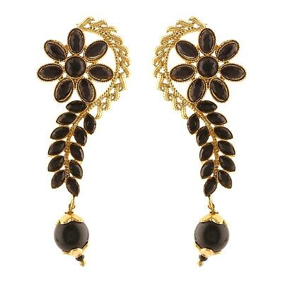 PEARL Rhinestone Sparkling Studded Gold Plated or Silver Plated Full EAR CUFF with drop crystals