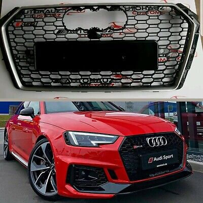 AUDI A4 RS4 Conversion Grill Honeycomb Quattro Grill Gloss Rings B9 2015+