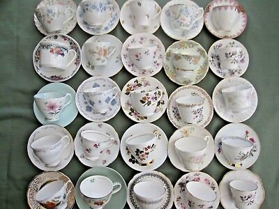 JOB LOT OF 6 VINTAGE CUPS WITH MATCHING SAUCERS - ideal for tea parties, wedding
