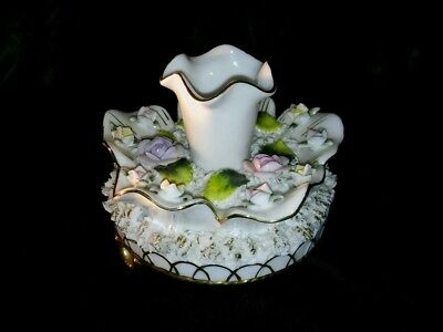 Antique Hat Pin/candle Holder Porcelain Footed W/roses And Gold Trim Shabby Chic