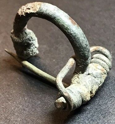 Ancient Imperial Roman Fibula Bow Type Brooch. Authentic Artefact.