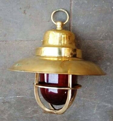 Vintage nautical marine brass hanging light with deflector cover with red globe