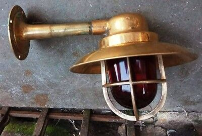 Vintage nautical marine brass passage light with deflector cover D1