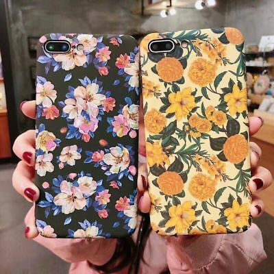 Luminous Floral Retro Flowers Phone Case for iPhone 6 7 8 Plus X XR XS Max Cover