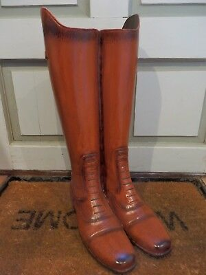 Realistic Vintage Style Leather Field Boots Riding Boots Umbrella Stick Stand