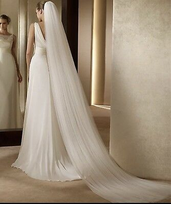 Brides Bridal Ivory Cathedral Length Veil 2 Tier Soft Tulle Cut Edge With Comb