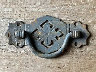 Antique Handle Drawer Pull Solid Brass Chest Cabinet Vintage Victorian