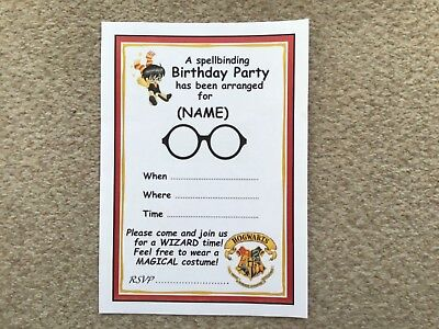 Harry Potter Theme Birthday Party Invitations PERSONALISED 20 Pack A5 Size
