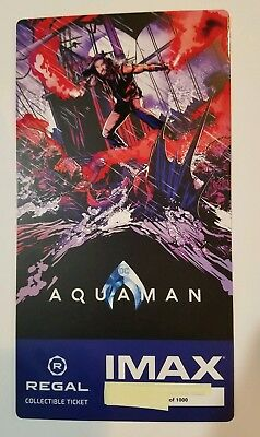 AQUAMAN Regal IMAX Collectible Ticket - Free Mini Poster Code # of 1000,1st week