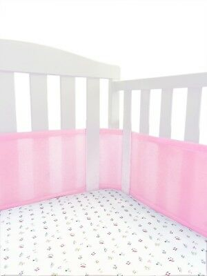 Breathable Crib Bumper Pink, Mesh Crib Liner for Standard Baby Crib