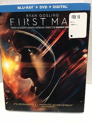 First Man Blu-ray + DVD + Digital Ryan Gosling Brand New w/ Slip Cover