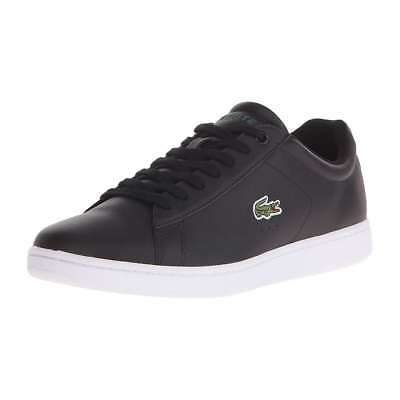 c0c6c0c13af19 Lacoste Men s Carnaby Evo Leather Low Top Lace Up Fashion Sneakers Black  Shoes