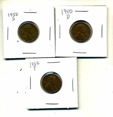 1950 P,d,s Wheat Pennies Lincoln Cents Circulated 2X2 Flips 3 Coin Pds Set#4374