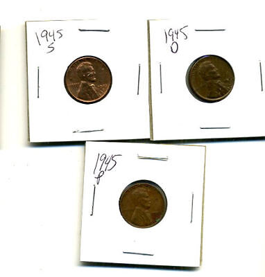 1945 P,d,s Wheat Pennies Lincoln Cents Circulated 2X2 Flips 3 Coin Pds Set#3315
