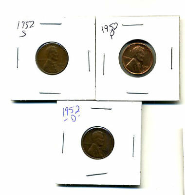 1952 P,d,s Wheat Pennies Lincoln Cents Circulated 2X2 Flips 3 Coin Pds Set#290