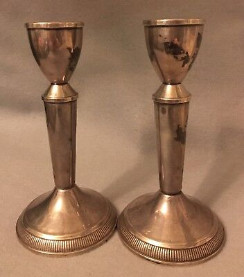 """Vintage Duchin Creation Sterling Silver Candlestick Holders Pair 6.5"""""""