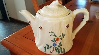 Vintage Porcelier China White Teapot with Floral Pattern. Large 8""