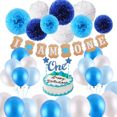 VEYLIN 1st Birthday Decorations For Baby Boys In Blue Kit