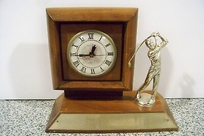 Nice Vintage Electric Trophy Clock With Golfer Works Great