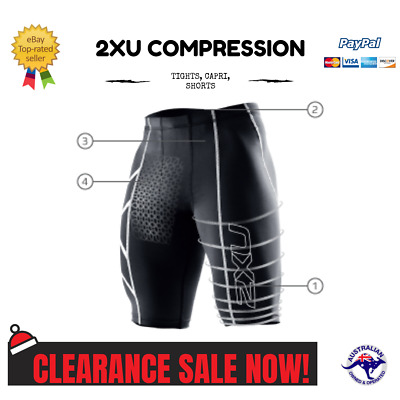 2XU Mens Compression Shorts Gym Skins Sportswear Cycling Athleisure Fitness AU