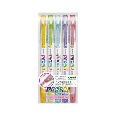 Uni Propus Window Soft Color Double-Sided Highlighter - 5 Color Set