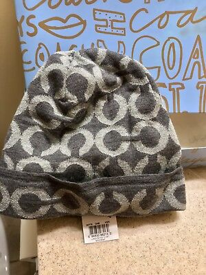 1b2e09d163c Coach Lurex Op Art Signature Black Grey Beanie Hat Winter Women s With Gift  Box