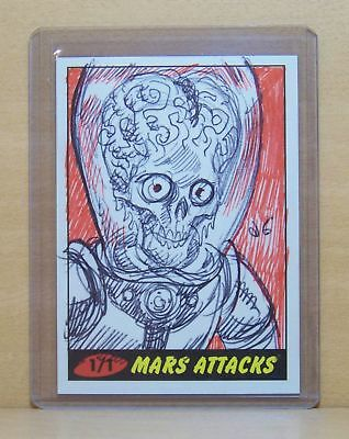 2012 Topps Mars Attacks Heritage Martian sketch card by Dan Brereton