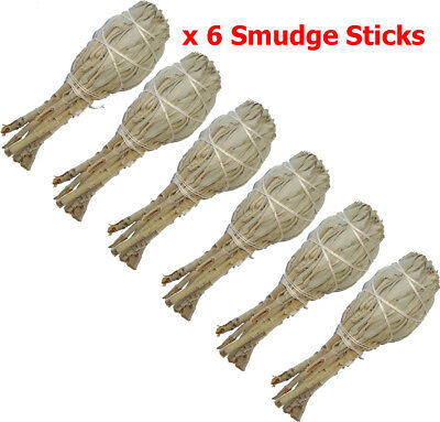 "California WHITE SAGE Smudge Sticks - Small 5"" (12cm) - BULK Pack of 6 (Torch)"