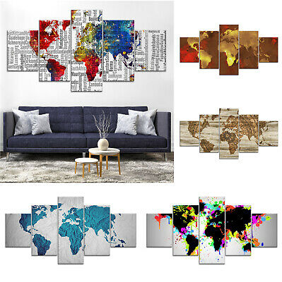 World Map Modern Abstract Canvas Print Painting Framed Home Decor Wall Art 5Pcs