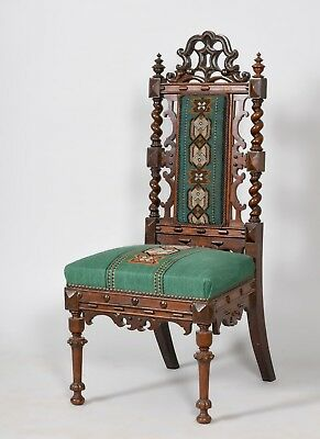 Antique Pugin Gothic Mahogany Beadwork Chair Desk 19th Century Strawberry Hill