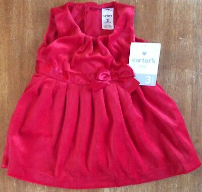 Carter's Baby Girl 2 Piece Red Velvet Bow Dress - 3 Months - NWT - Retail $38.00