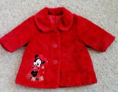 George Minnie Mouse Red Disney Fleecey Fur Coat Lined 3-6 Mths Excellent Condit