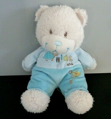 *- DOUDOU PELUCHE OURS TEX BABY BLANC BLEU TORTUE Hide and seek 25cm - TBE