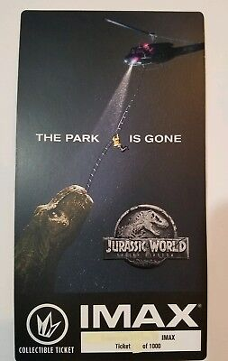 JURASSIC WORLD FALLEN KINGDOM, IMAX Collectible Ticket # out of 1000