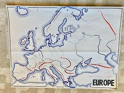 Vintage original antique french school map Europe depicting mountains rivers