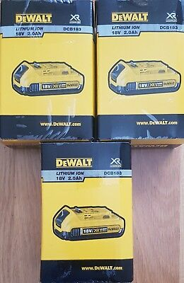 3No Genuine Dewalt DCB183 18v 2.0Ah XR Li-Ion Slide Battery Latest Model