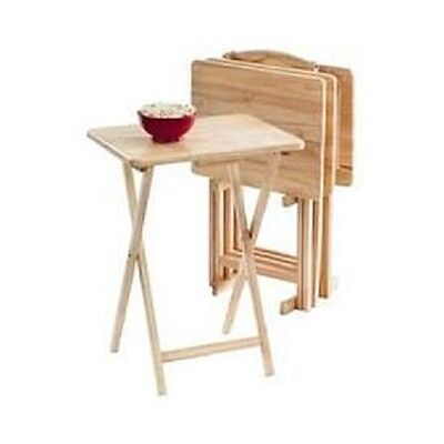 5 Piece Tv Tray Table Set Dinner Game Folding Snack Solid Wood Stand