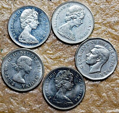 1949, 1964, 1965, 1966 and 1967 Canadian Nickels Lot AB