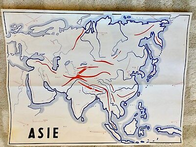 Vintage original antique french school map Asia mountains rivers
