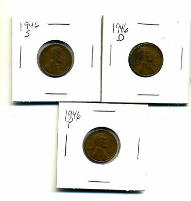 1946 P,d,s Wheat Pennies Lincoln Cents Circulated 2X2 Flips 3 Coin Pds Set#1382