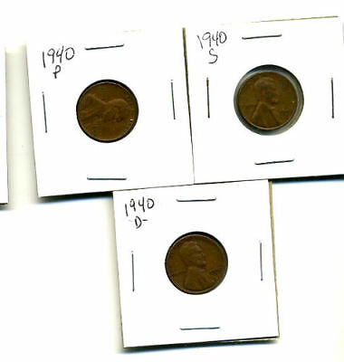1940 P,d,s Wheat Pennies Lincoln Cents Circulated 2X2 Flips 3 Coin Pds Set#905