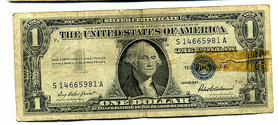 1957 Silver Certificate Us Sa  Block One Dollar Bill S14665981A $1 Note #1424