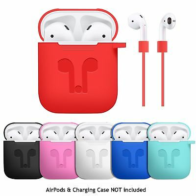 Case Cover for Apple AirPods + AirPod Strap Silicone Protective Charging Sport
