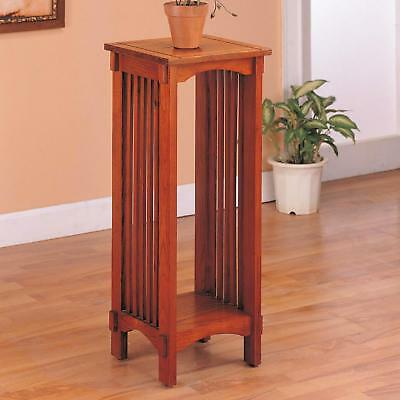 Mission Traditional Warm Oak Finish Accent Table with Bottom Shelf