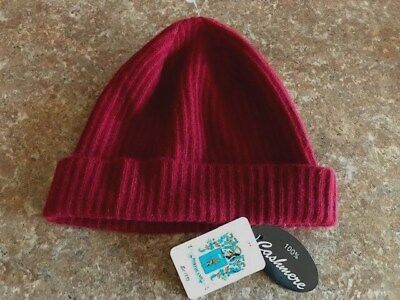 80f28362639c6 Portolano Women s Ribbed Cuffed 100% Cashmere Beanie Hat Wine Red One Size  NWT