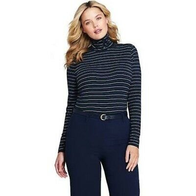 36906c73436cf LANDS  END WOMEN S Fitted Long Sleeve Layering Turtleneck Forest ...