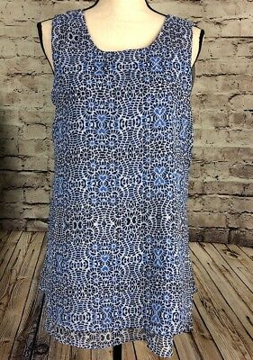 Fever Double Layer Tank Top Womens Blue Print Size M or XXL