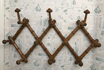 Vintage French Expandable Wood Wall Coat Hat Rack ~ 1930s Faux Bamboo Design